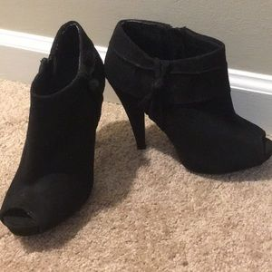 Open toed black sued booties